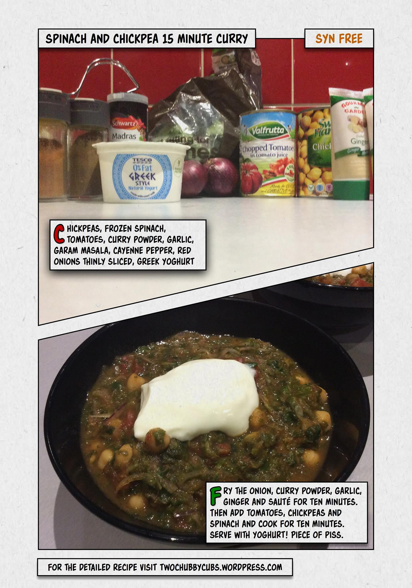 Syn Free Spinach And Chickpea Curry