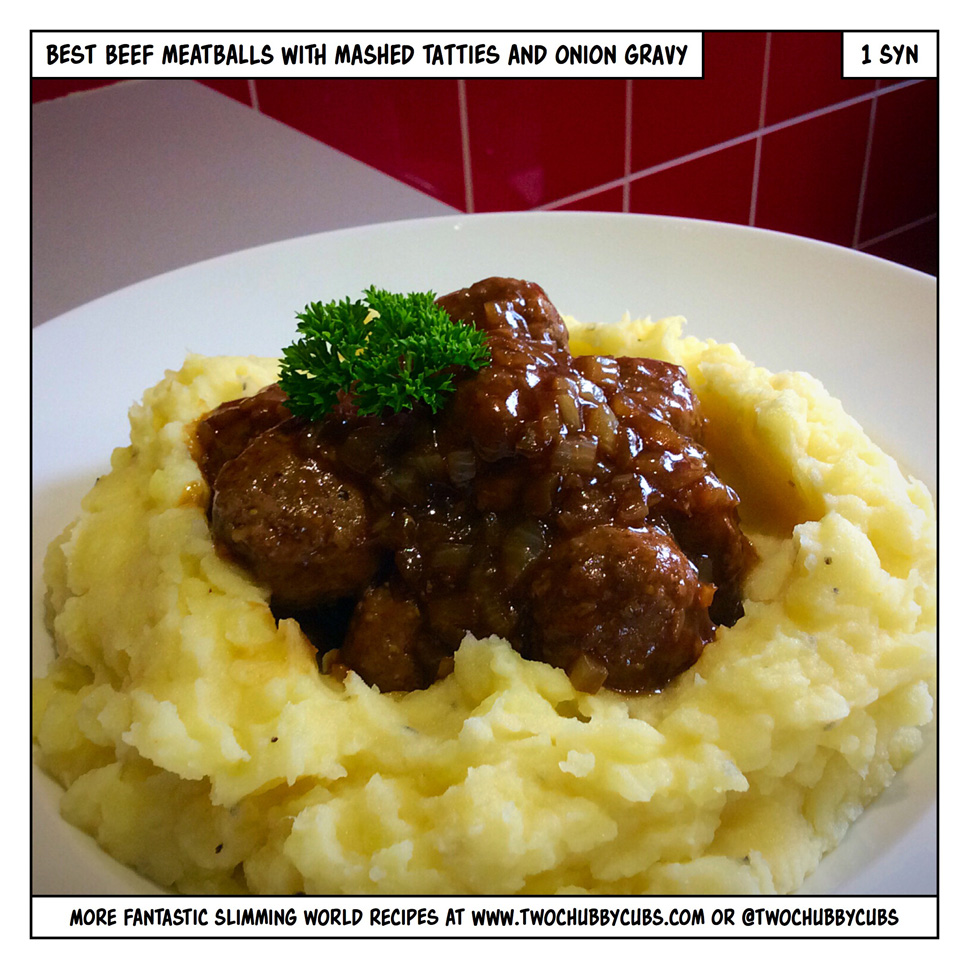 meatballs with onion gravy and mash