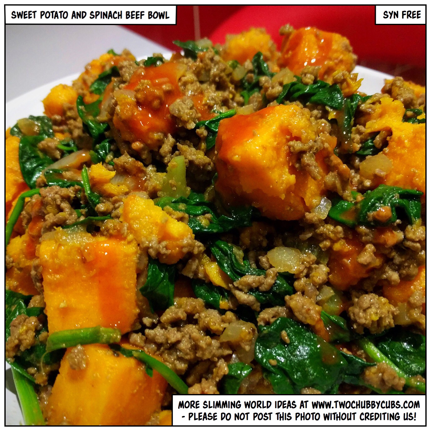 Syn free sweet potato and spinach beef bowl twochubbycubs Slimming world offers 2016