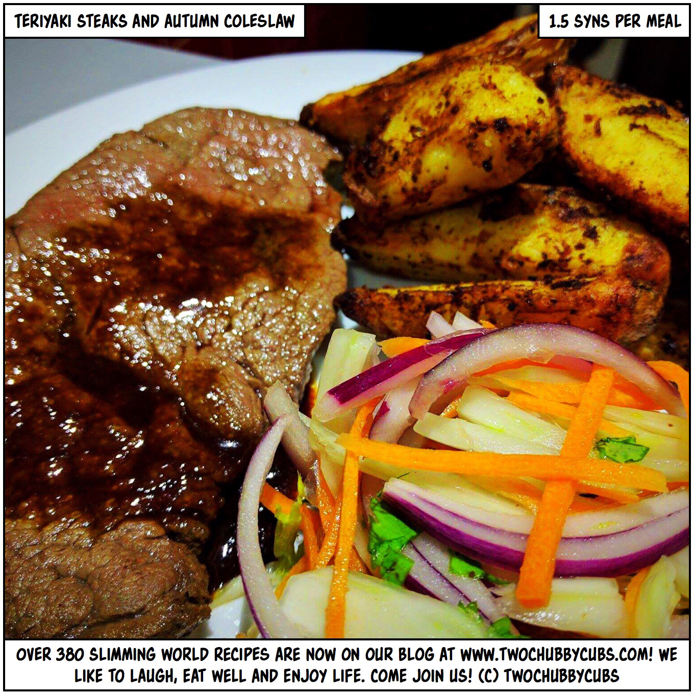 teriyaki steak and autumn coleslaw