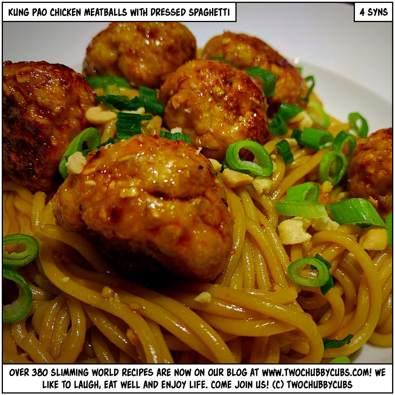 kung pao chicken meatballs with dressed spaghetti ...